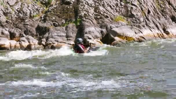 Person on boat ( kayak) rafting . 4K 3840x2160 Rafting team