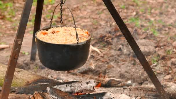 4K shot.  Cooking in  wood on  fire. Tasty pilaf, rice.
