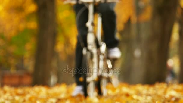 Slow motion .Bicycle trip  in beautiful autumn park with yellow leaves