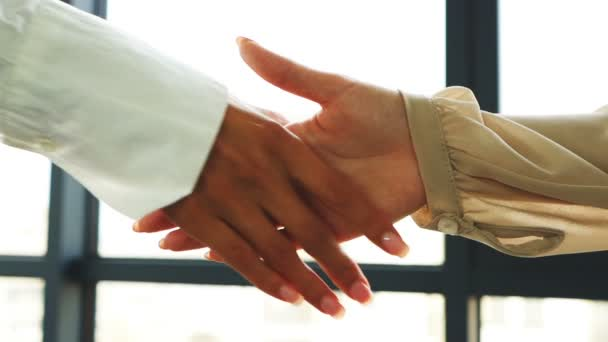 Slow motion. Two business partner woman shakes hands when meeting in office