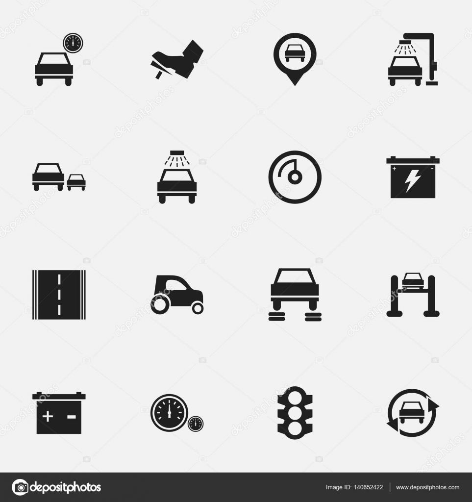 Set Of 16 Editable Car Icons Includes Symbols Such As Speed Display