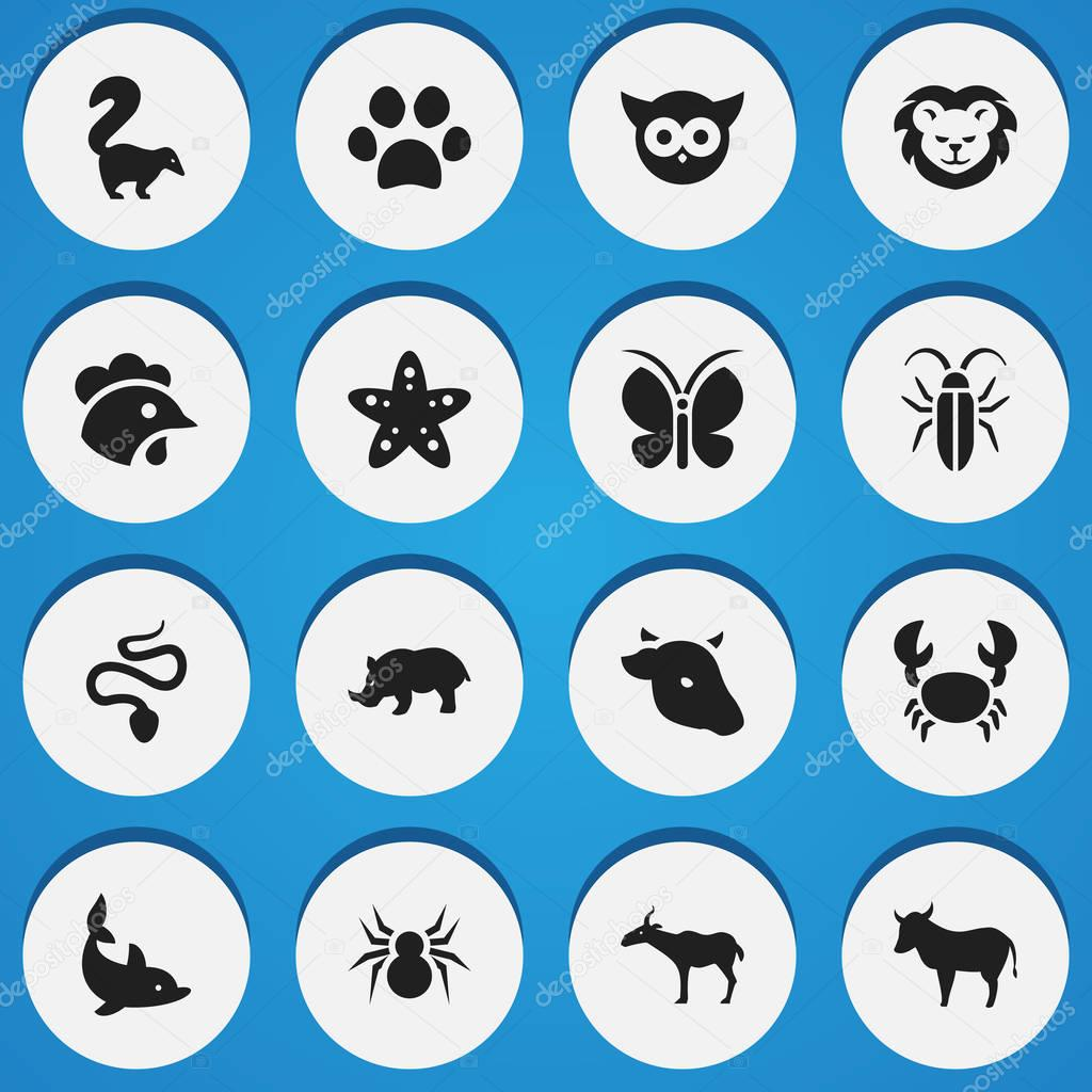 Set Of 16 Editable Animal Icons. Includes Symbols Such As Gazelle, Forepaw, Sea Star And More. Can Be Used For Web, Mobile, UI And Infographic Design.