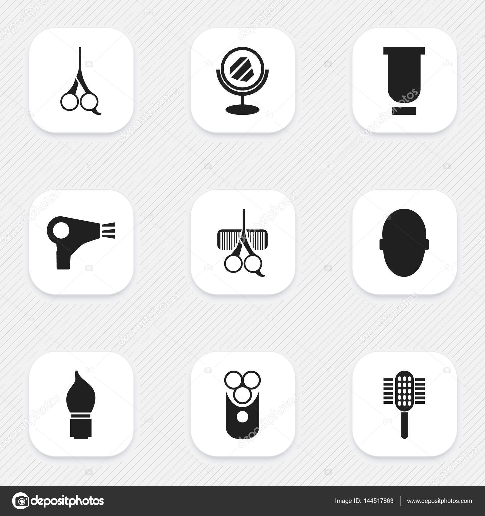 Set of 9 editable hairdresser icons includes symbols such as cut includes symbols such as cut tool peeper cutter apparatus and more can be used for web mobile ui and infographic design vector by bestvectorelements buycottarizona Images