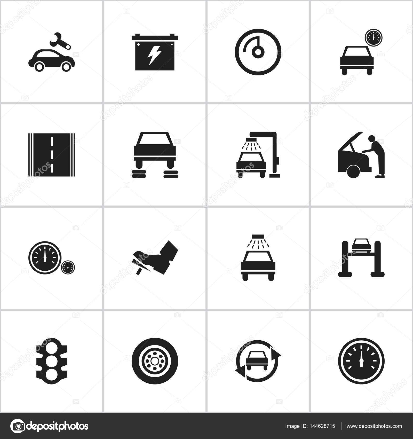 Set Of 16 Editable Car Icons Includes Symbols Such As Speedometer