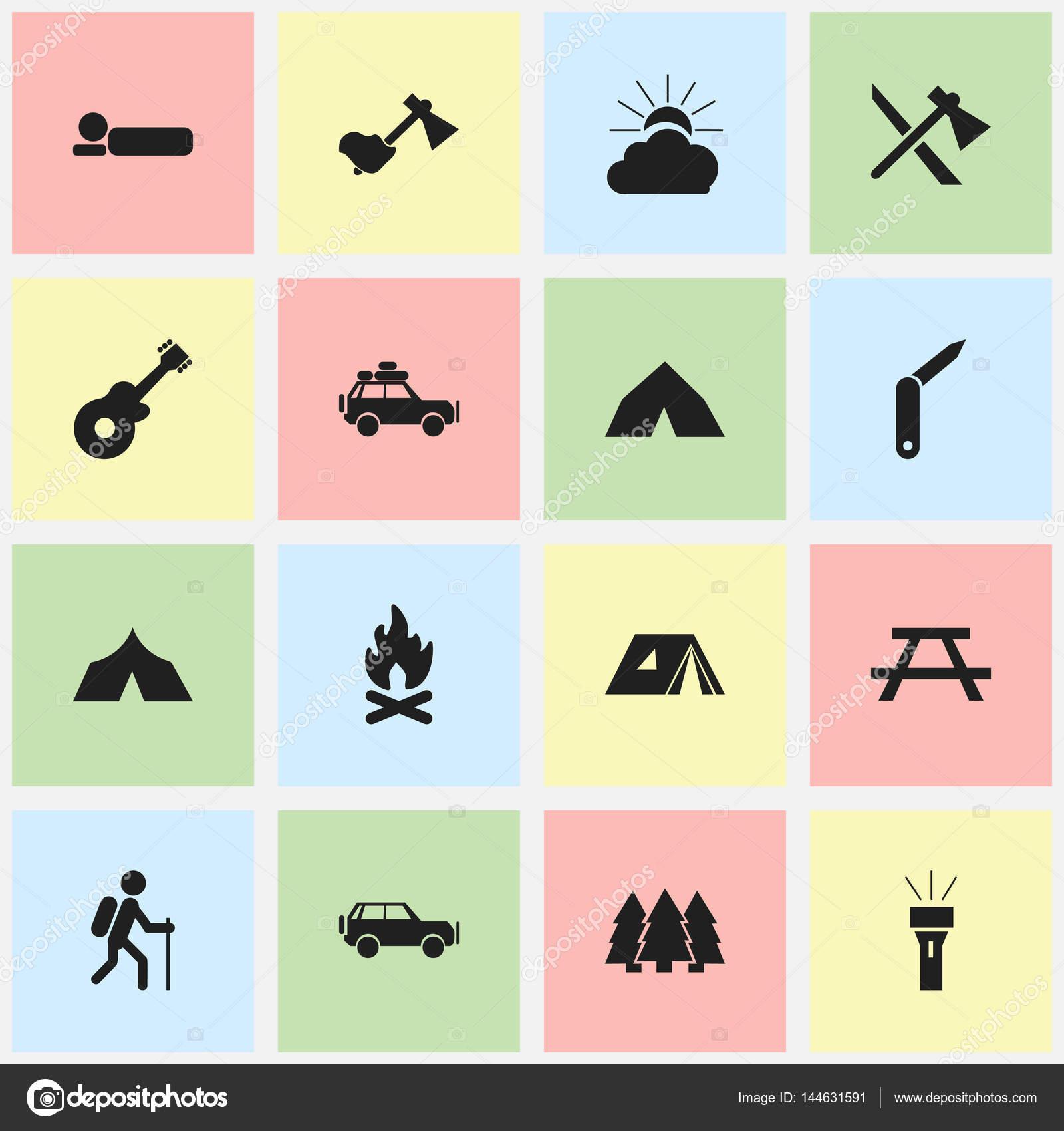 Bureau Design Gebruikt.Set Van 16 Bewerkbare Reizen Iconen Bevat Symbolen Zoals