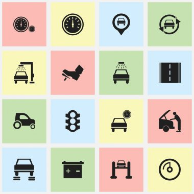 Set Of 16 Editable Car Icons. Includes Symbols Such As Auto Service, Car Fixing, Vehicle Wash And More. Can Be Used For Web, Mobile, UI And Infographic Design.