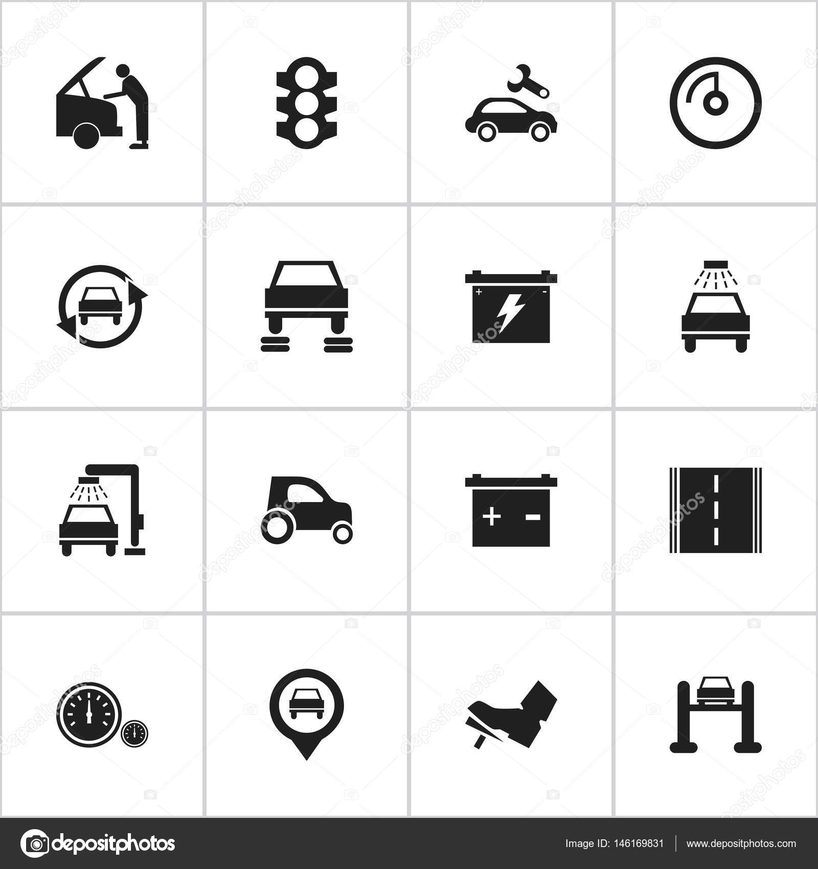 Set Of 16 Editable Traffic Icons Includes Symbols Such As Vehicle