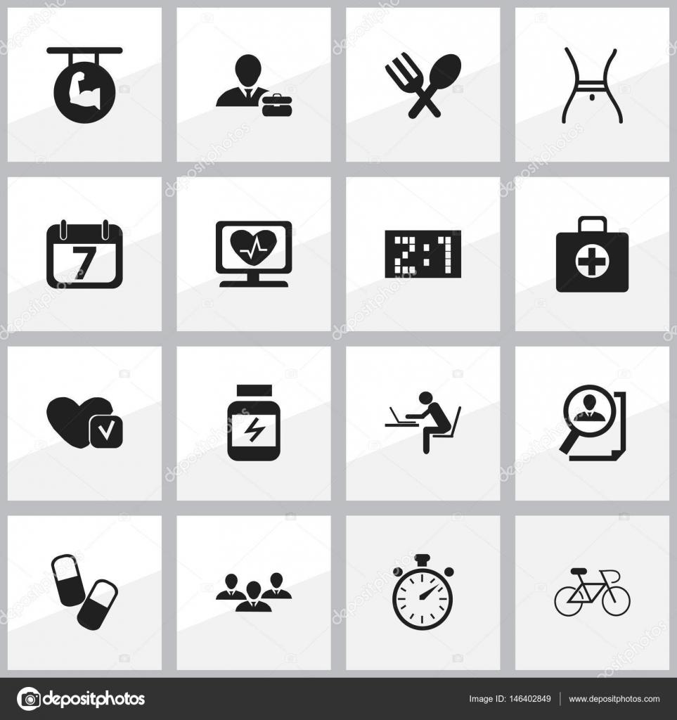 Insieme Di 16 Icone Complicati Modificabile Include Simboli Come