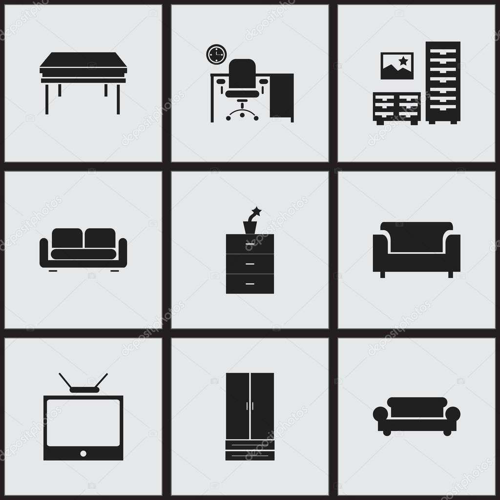 Set Of 9 Editable Home Icons. Includes Symbols Such As Davenport, Trestle, Office And More. Can Be Used For Web, Mobile, UI And Infographic Design.