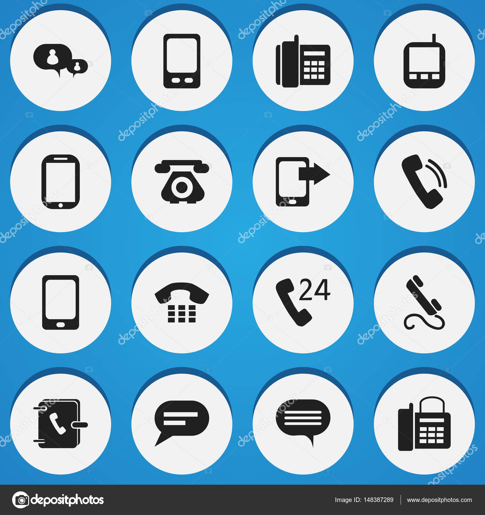 Set Of 16 Editable Phone Icons Includes Symbols Such As Chatting