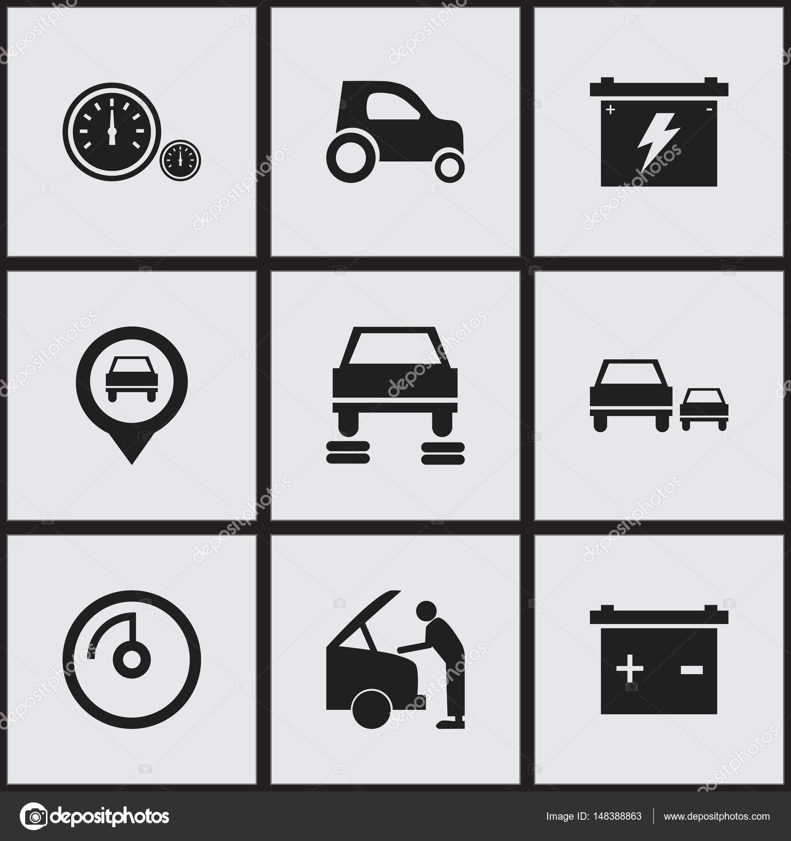 Set Of 9 Editable Car Icons Includes Symbols Such As Car Fixing