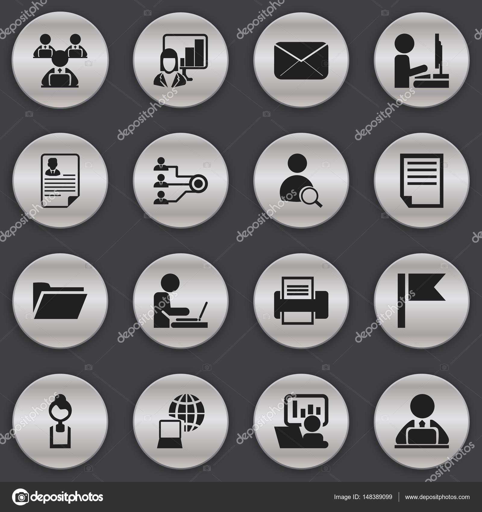 Bureau Design Gebruikt.Set Van 16 Bewerkbare Bureau Iconen Bevat Symbolen Zoals