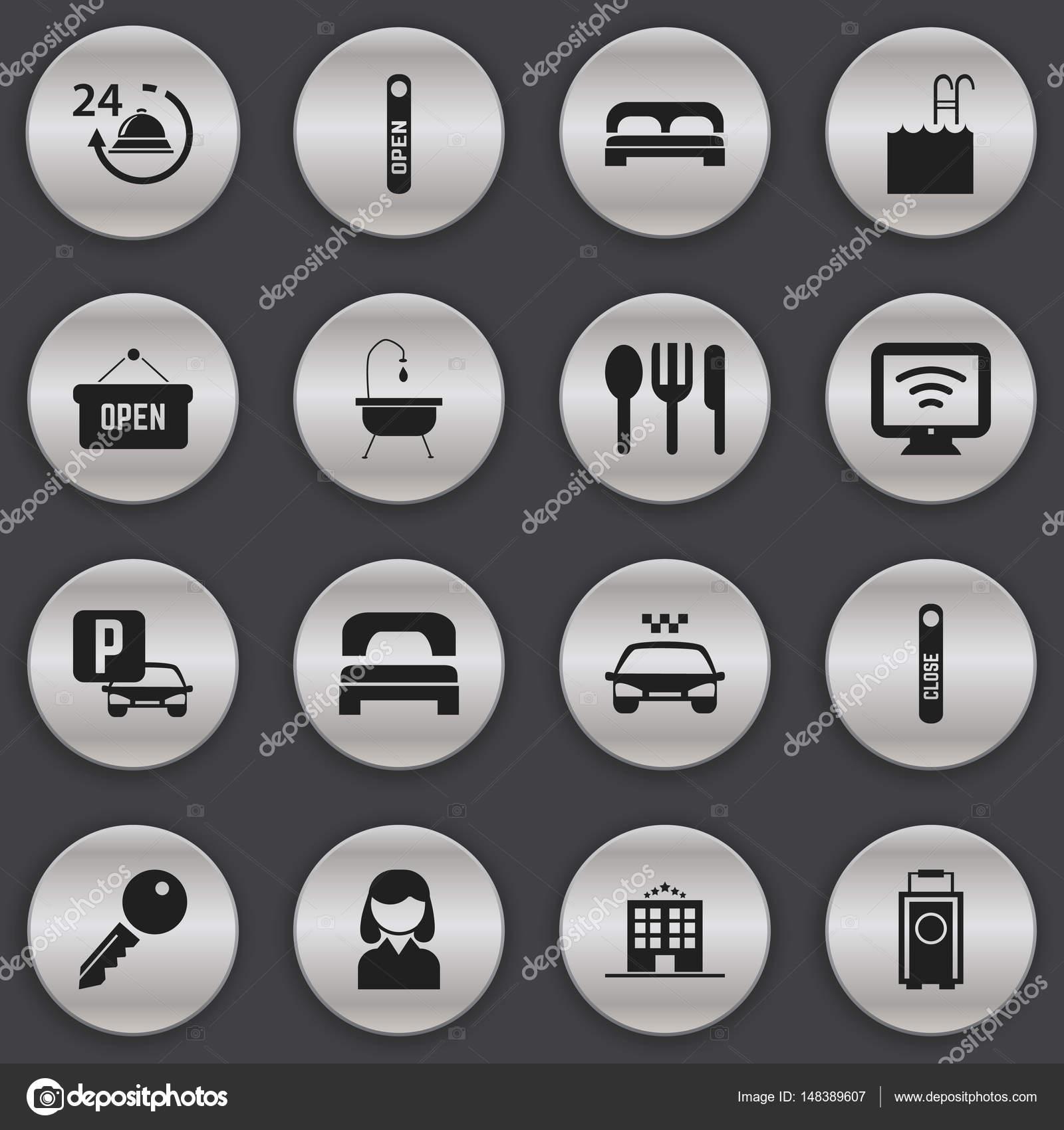 Satz von 16 editierbaren Travel Icons. Enthält Symbole wie Auto ...