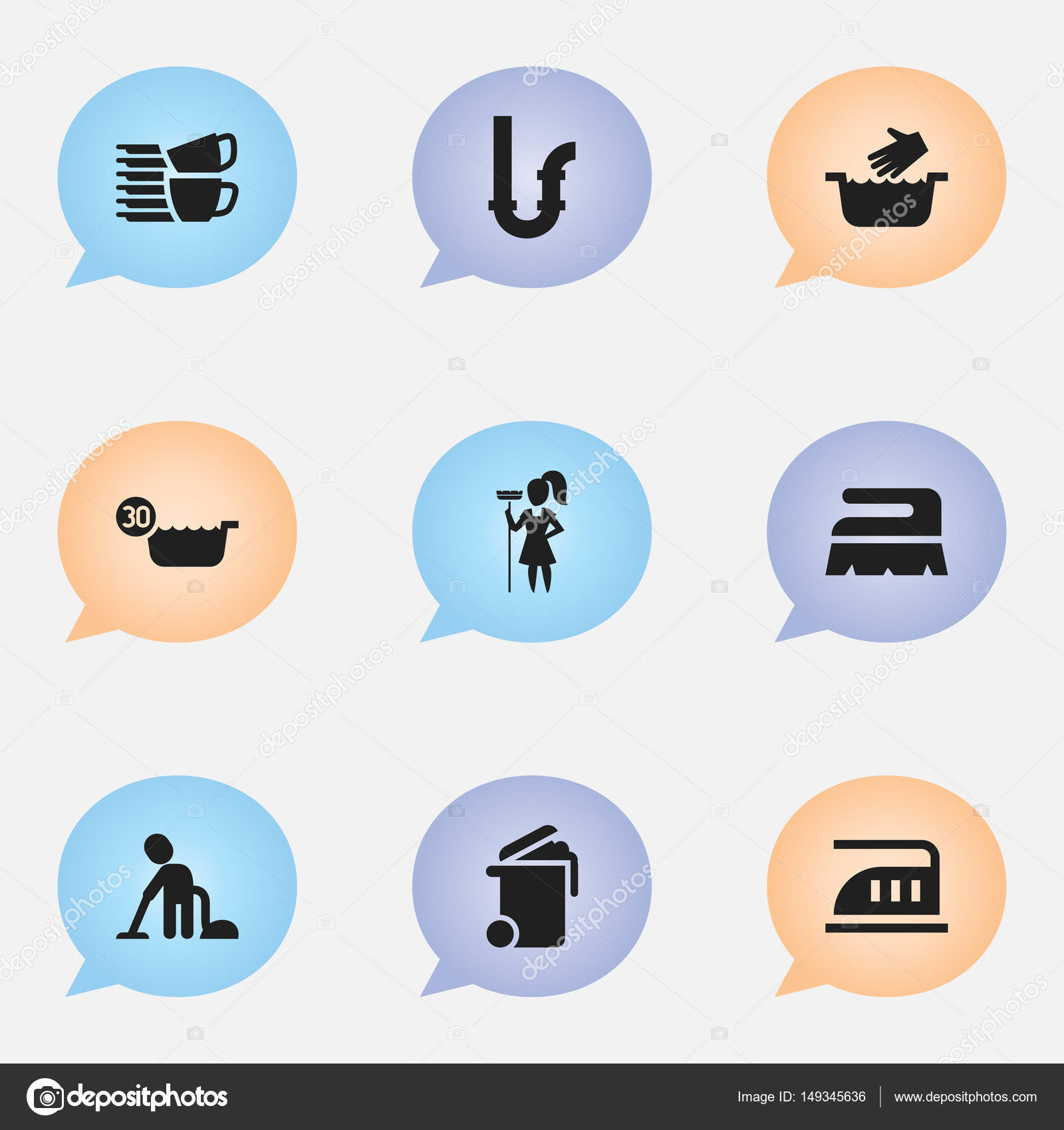 Insieme Di 9 Icone Modificabili Di Lavaggio A Secco Include Simboli