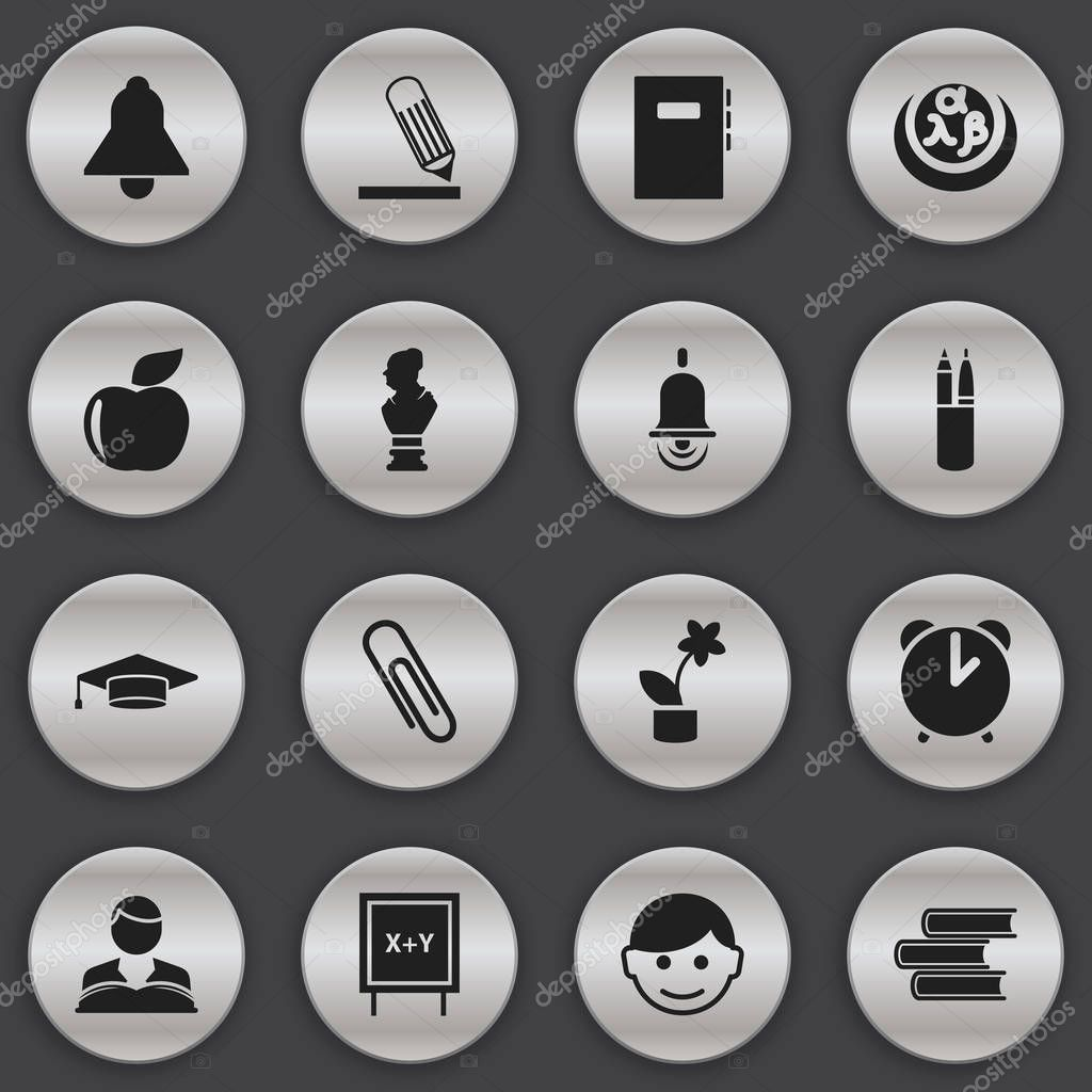 Set Of 16 Editable Graduation Icons. Includes Symbols Such As Alarm Bell, Studying Boy, Pen Case And More. Can Be Used For Web, Mobile, UI And Infographic Design.