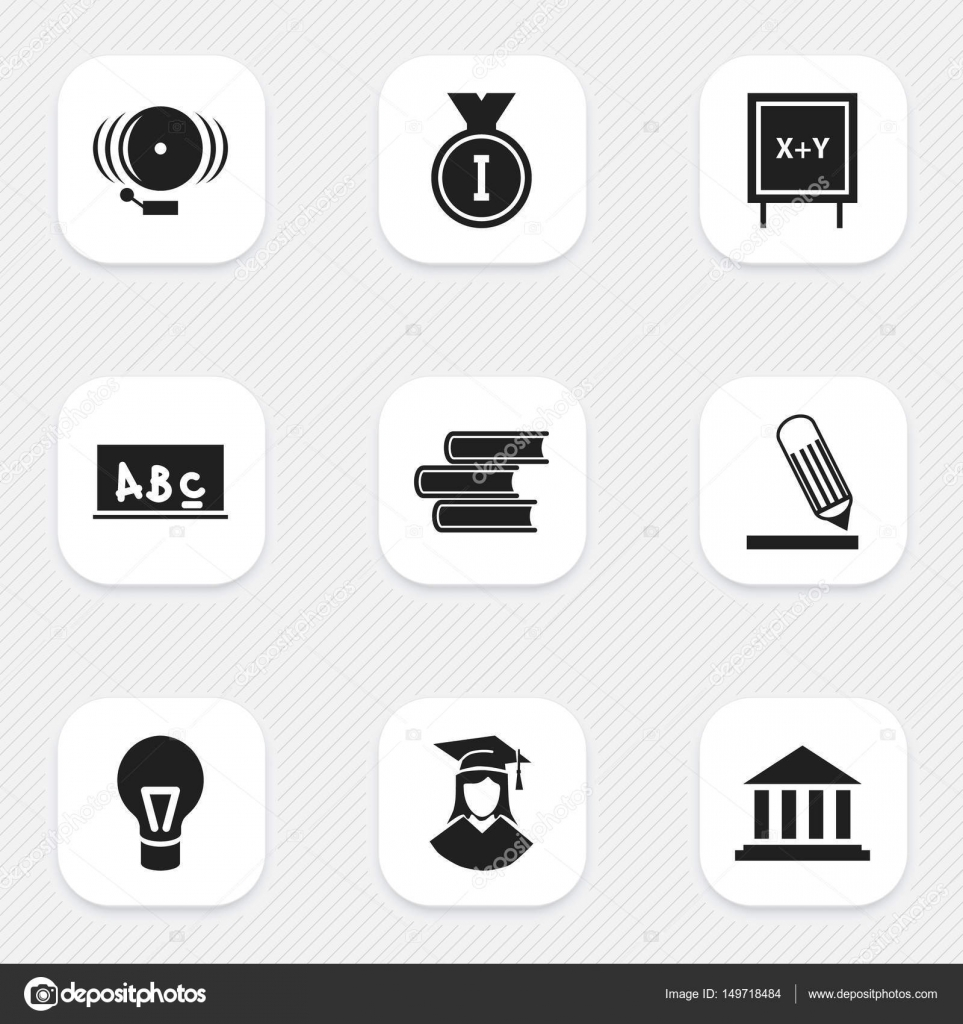 Set Of 9 Editable Science Icons. Includes Symbols Such As Library ...