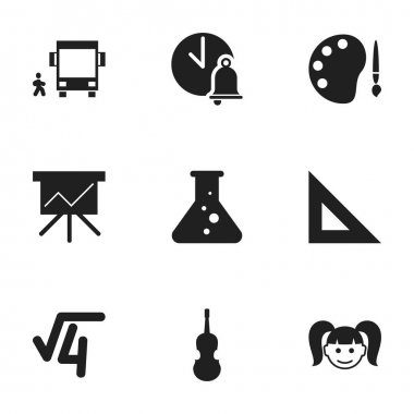 Set Of 9 Editable Education Icons. Includes Symbols Such As Paint, Omnibus With Child, Math Root And More. Can Be Used For Web, Mobile, UI And Infographic Design.