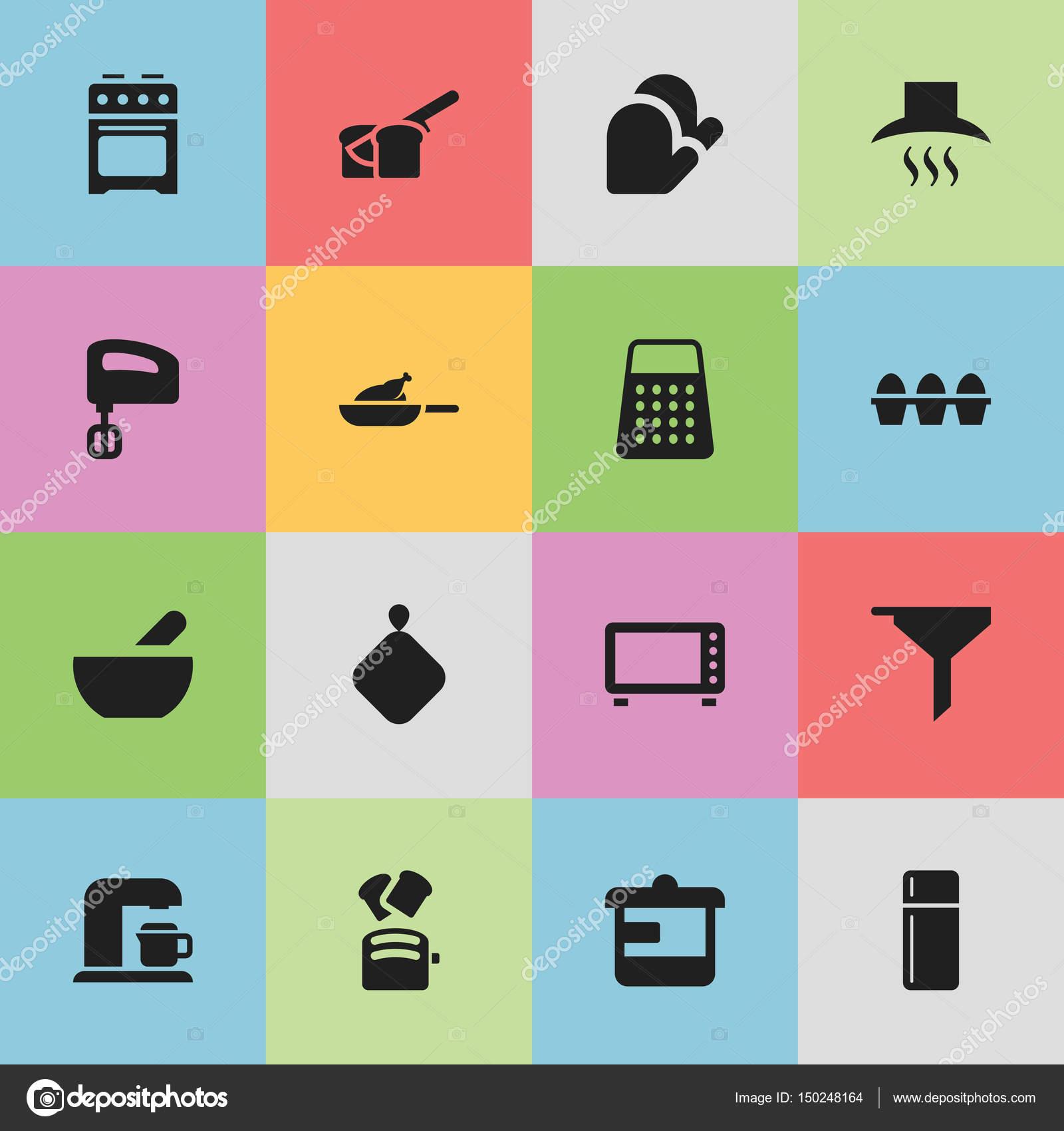 Satz Von 16 Editierbaren Cook Icons Enthalt Symbole Wie Kuhlschrank