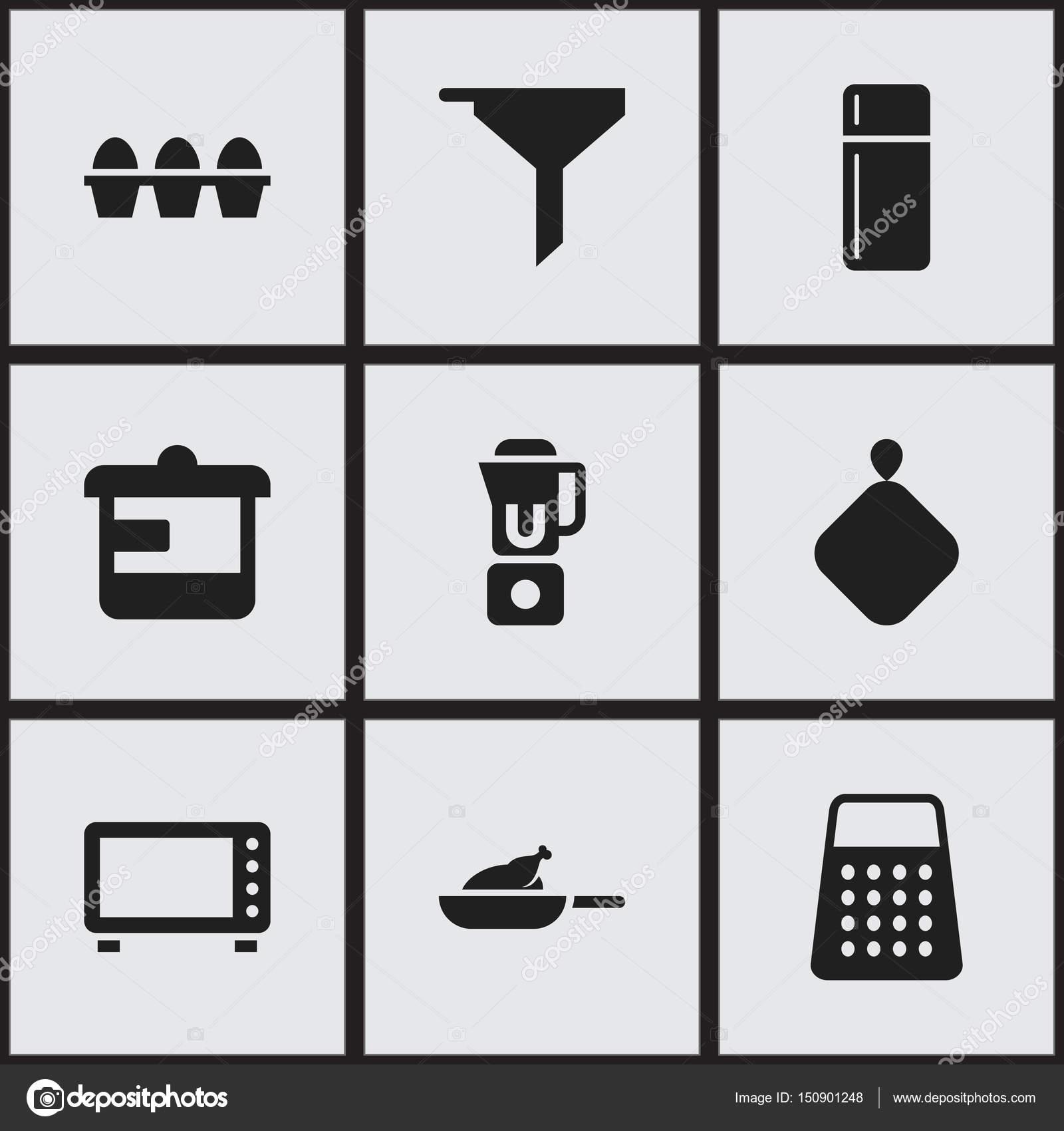 Set Von 9 Bearbeitbare Mahlzeit Icons Enthalt Symbole Wie Backofen