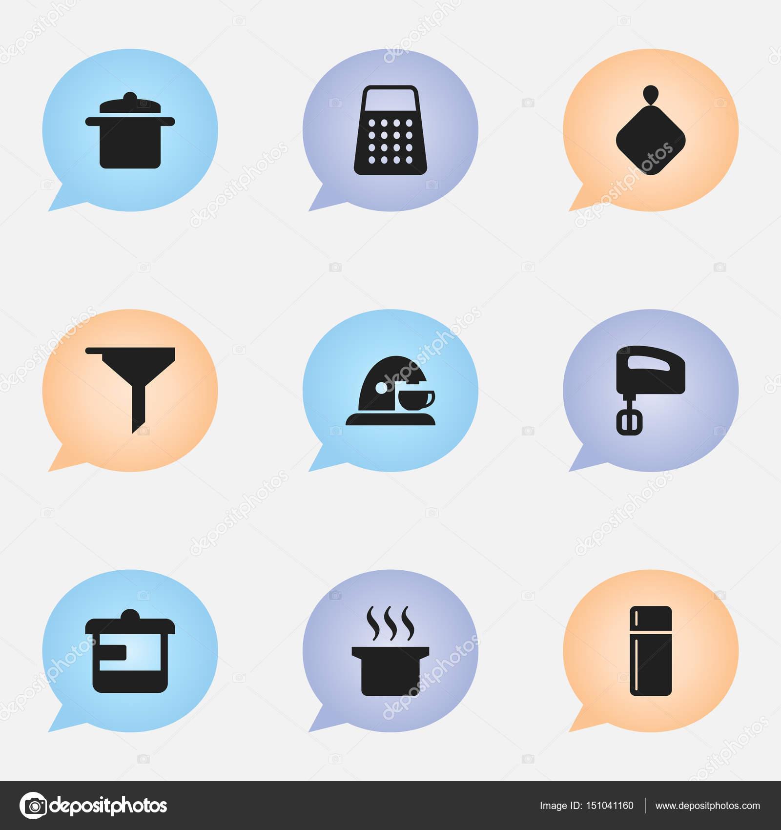 Set von 9 bearbeitbare Essen Icons. Enthält Symbole wie zum Beispiel ...