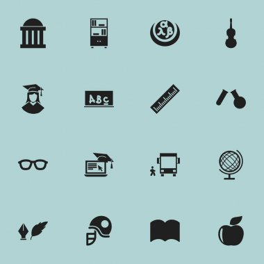 Set Of 16 Editable School Icons. Includes Symbols Such As Fresh Fruit, Phial, Distance Learning And More. Can Be Used For Web, Mobile, UI And Infographic Design.