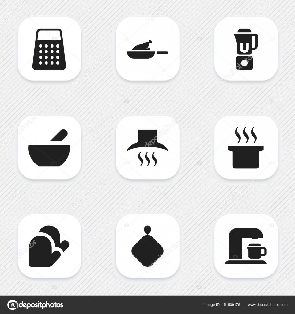 Set Of 9 Editable Cook Icons. Includes Symbols Such As Kitchen Hood ...