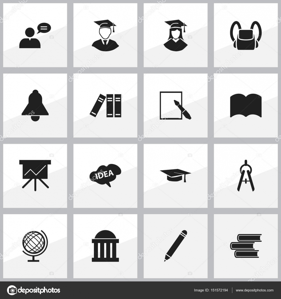 Set Of 16 Editable School Icons Includes Symbols Such As Math Tool