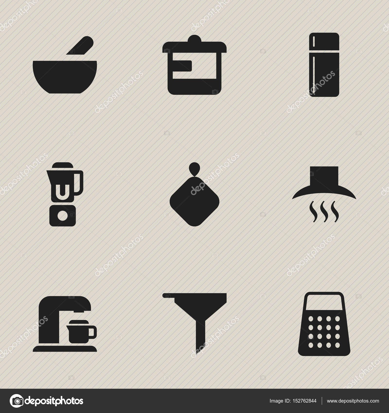 Set Von 9 Bearbeitbare Essen Icons Enthalt Symbole Wie Kuhlschrank