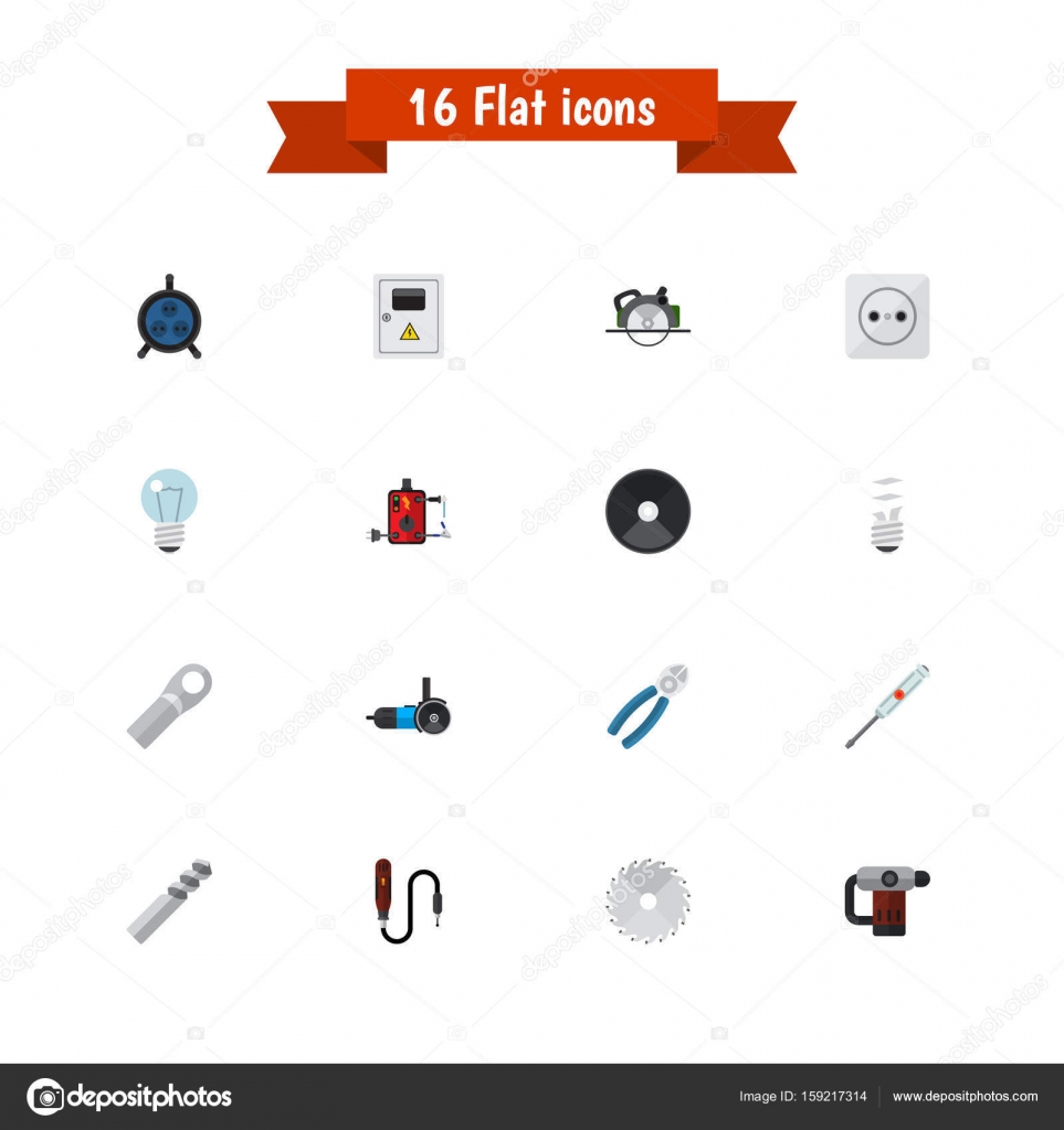Satz von 16 editierbaren elektrische Symbole. Enthält Symbole wie ...