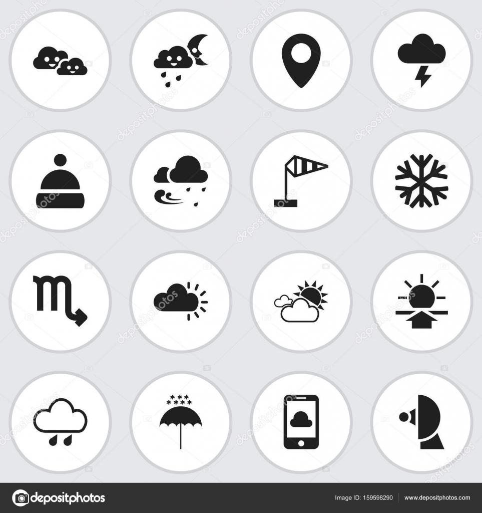 Satz von 16 editierbaren Wettersymbole. Enthält Symbole wie Sturm ...