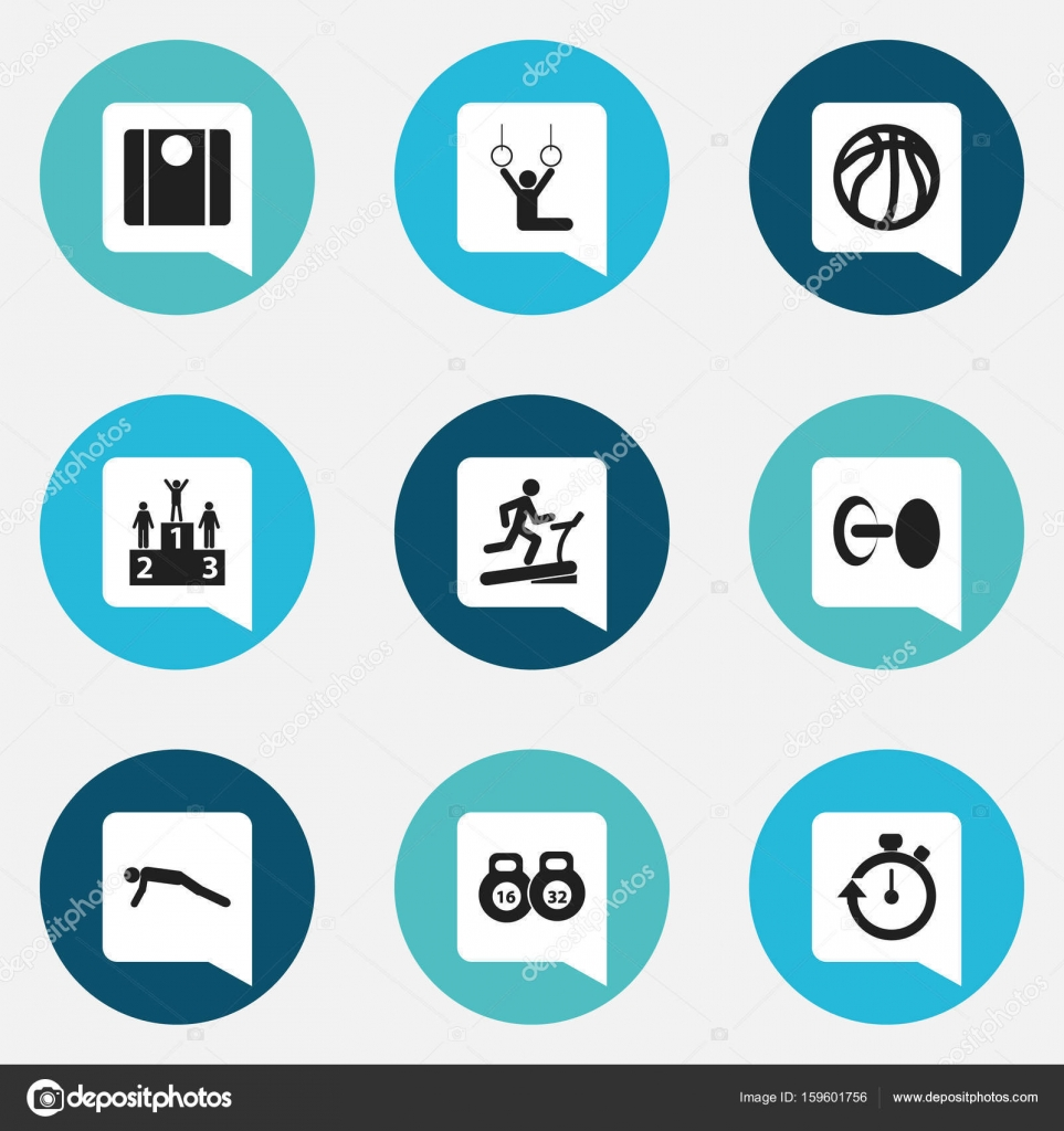 Set Of 9 Editable Active Icons Includes Symbols Such As Physical