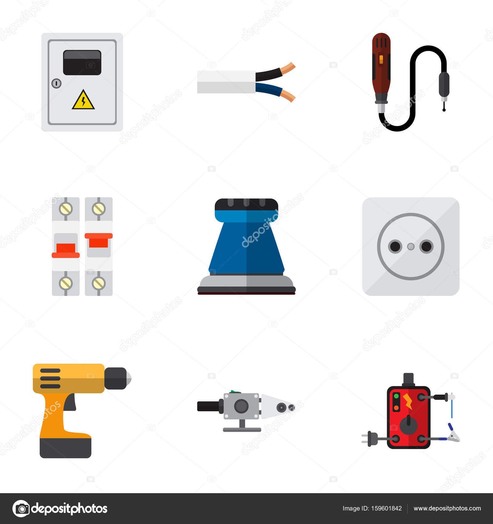 Satz von 9 bearbeitbare elektrische Symbole. Enthält Symbole wie ...