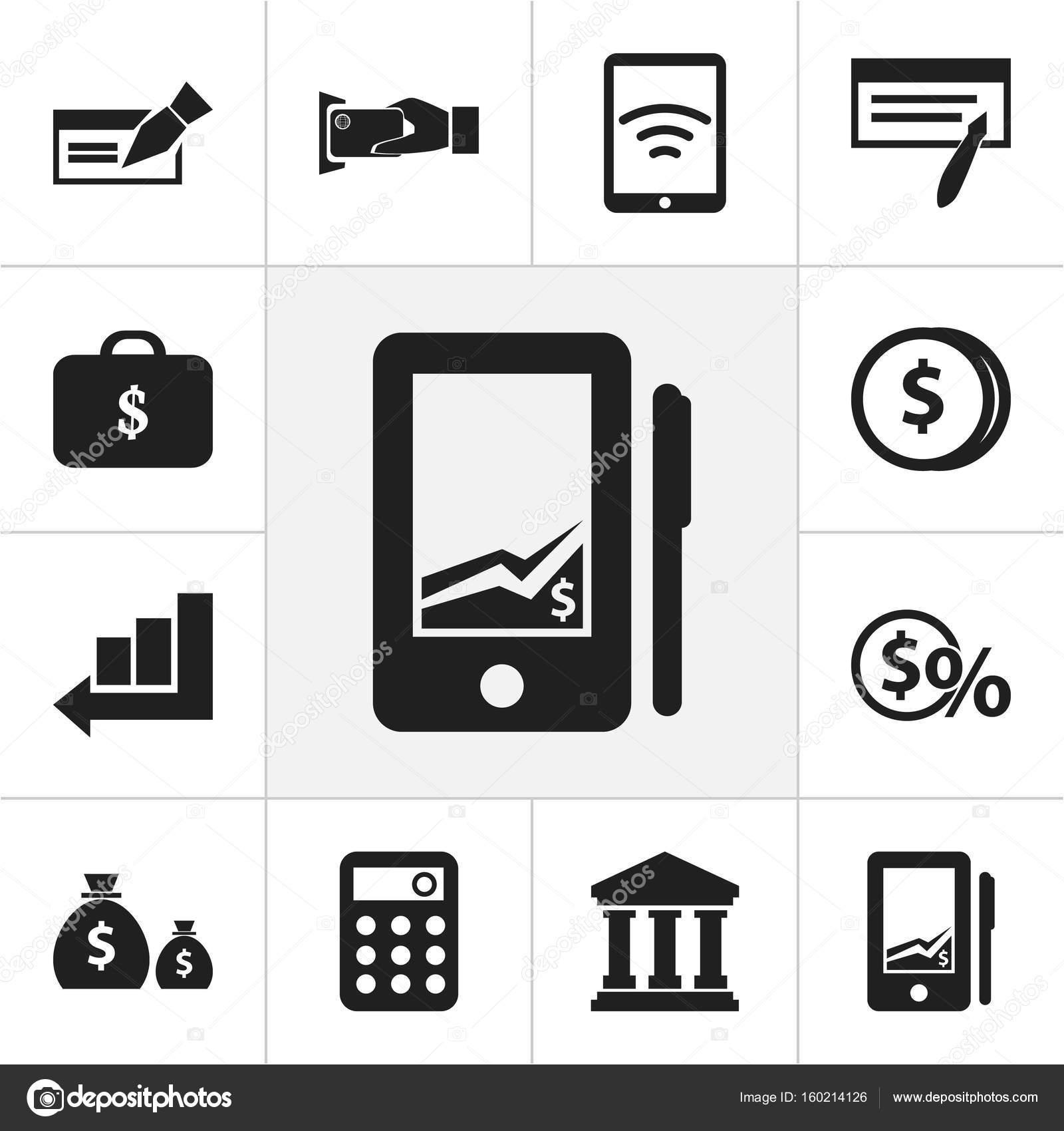 Set von 12 editierbare Investment-Icons. Enthält Symbole wie Gebäude ...