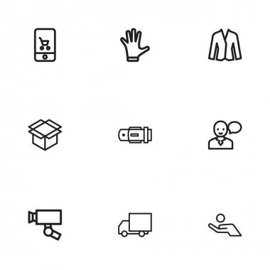 Set Of 9 Editable Shopping Icons. Includes Symbols Such As Mitten, Belt, Box Clear And More. Can Be Used For Web, Mobile, UI And Infographic Design.