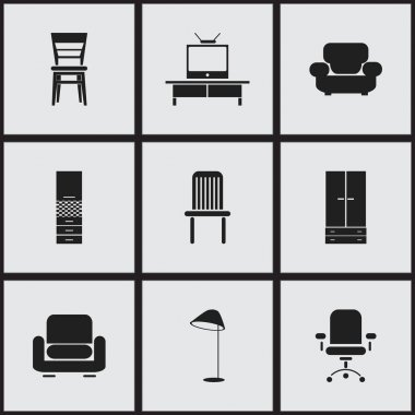 Set Of 9 Editable Furnishings Icons. Includes Symbols Such As Recliner, Material Cupboard, Seat And More. Can Be Used For Web, Mobile, UI And Infographic Design.