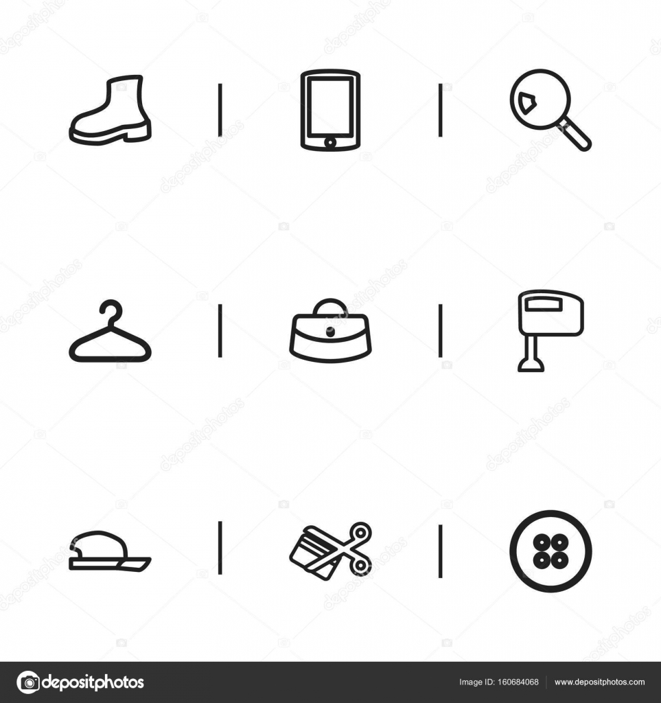 Set Of 9 Editable Business Outline Icons Includes Symbols Such As