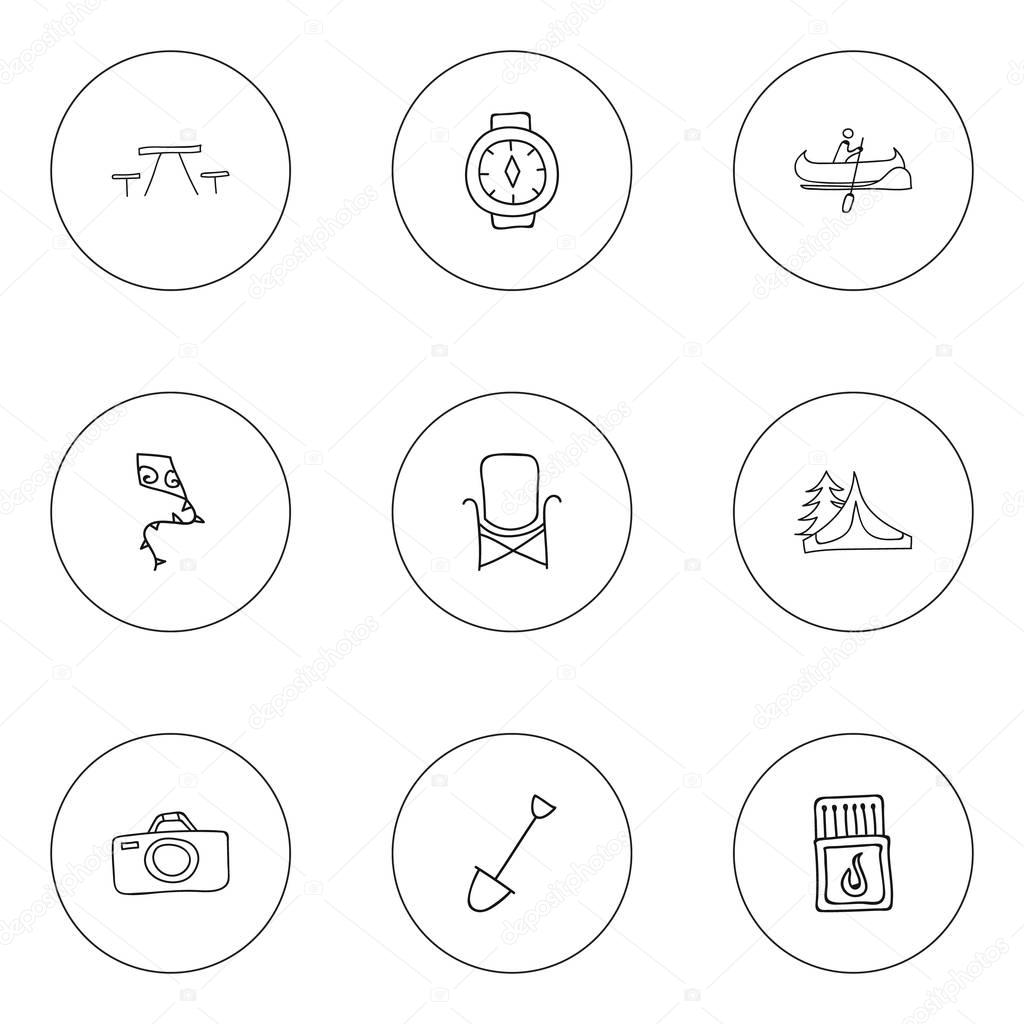 Set Of 9 Editable Trip Doodles. Includes Symbols Such As Camp House, Photographing, Boat And More. Can Be Used For Web, Mobile, UI And Infographic Design.