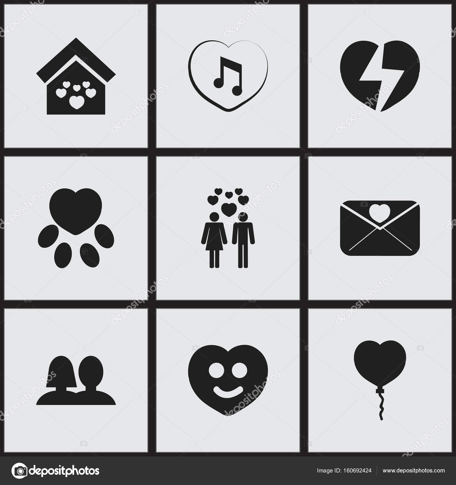 Set Of 9 Editable Love Icons Includes Symbols Such As Happy