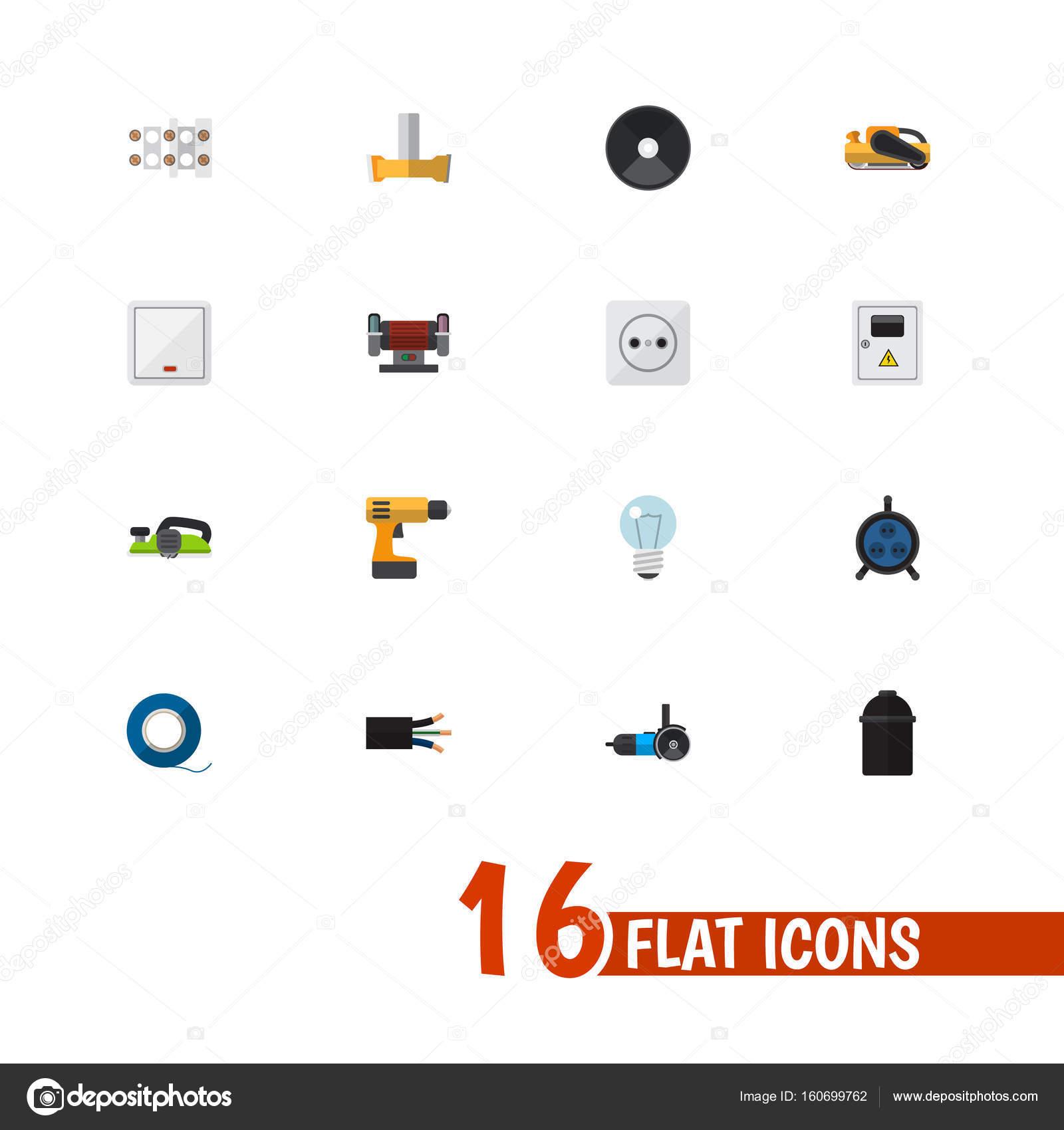 Set von 16 editierbaren elektrische flache Icons. Enthält Symbole ...