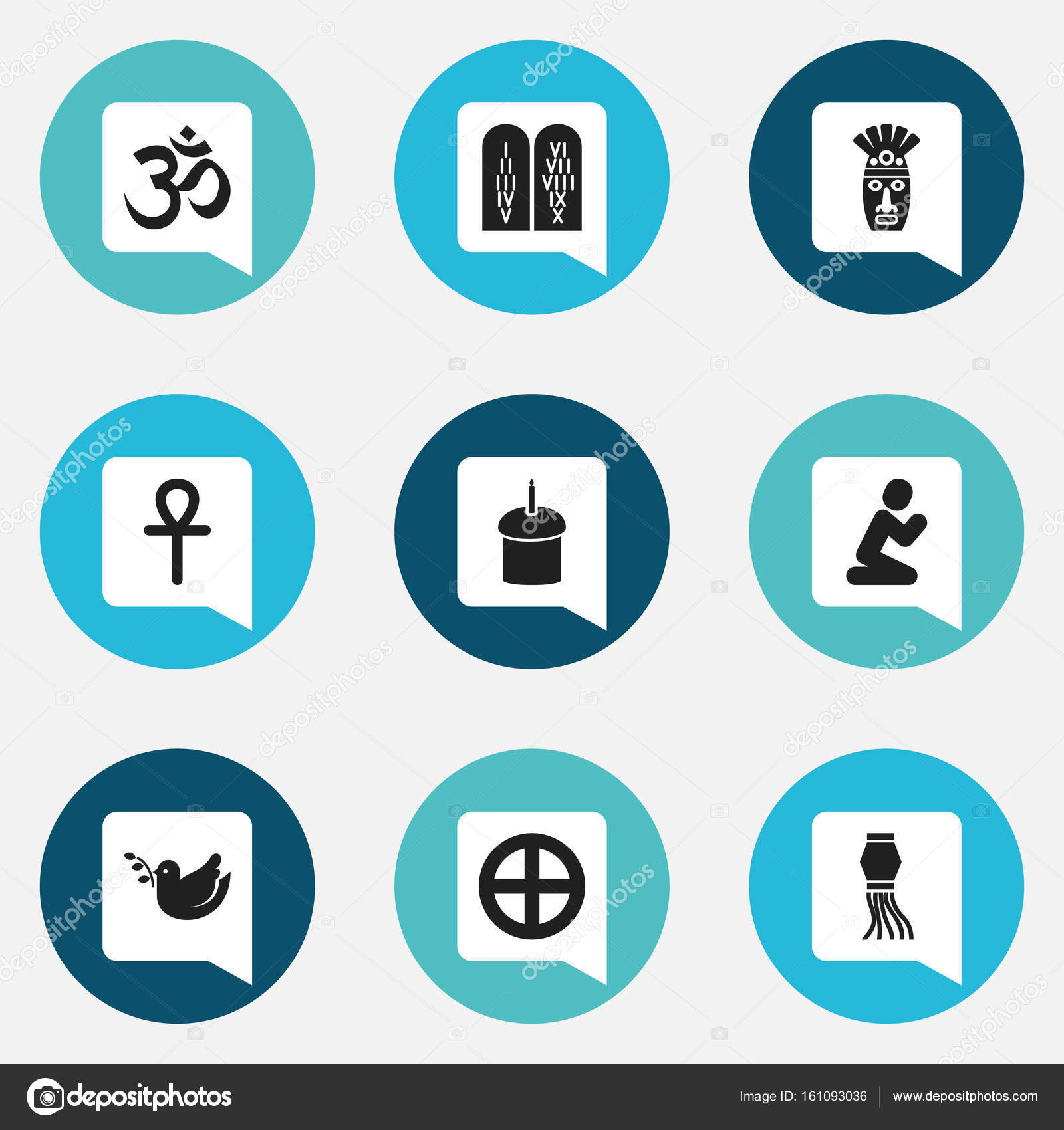 Set Of 9 Editable Faith Icons Includes Symbols Such As Ancient