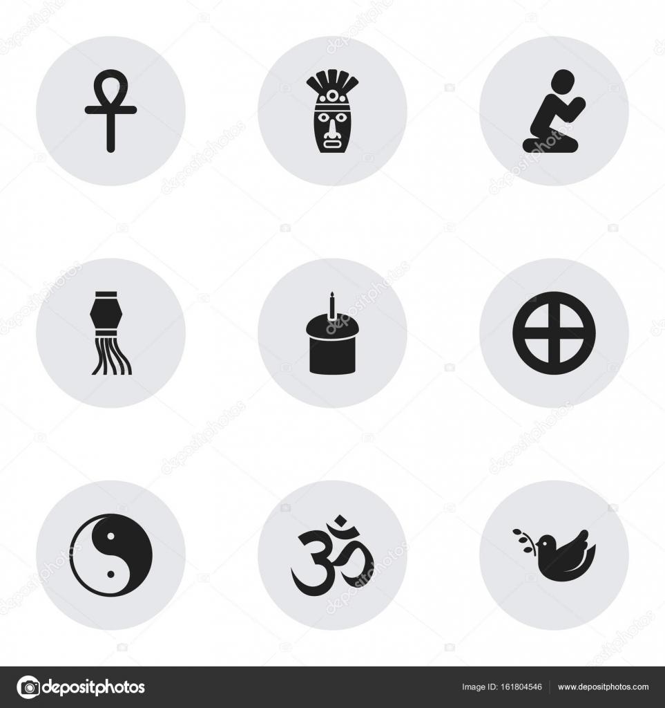 Set Of 9 Editable Faith Icons Includes Symbols Such As Egyptian