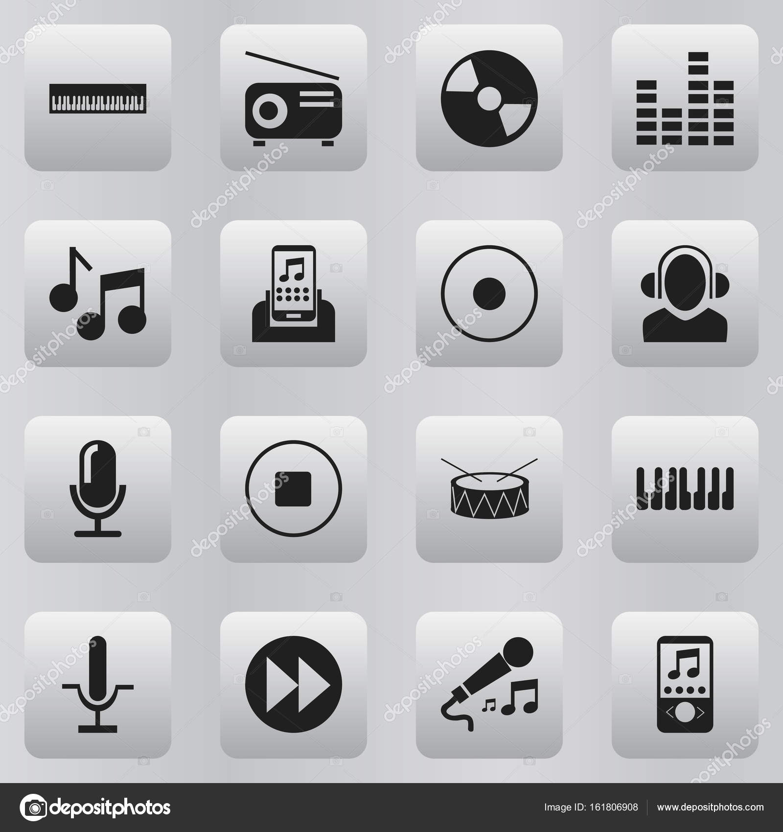 Set Of 16 Editable Media Icons  Includes Symbols Such As Break Music