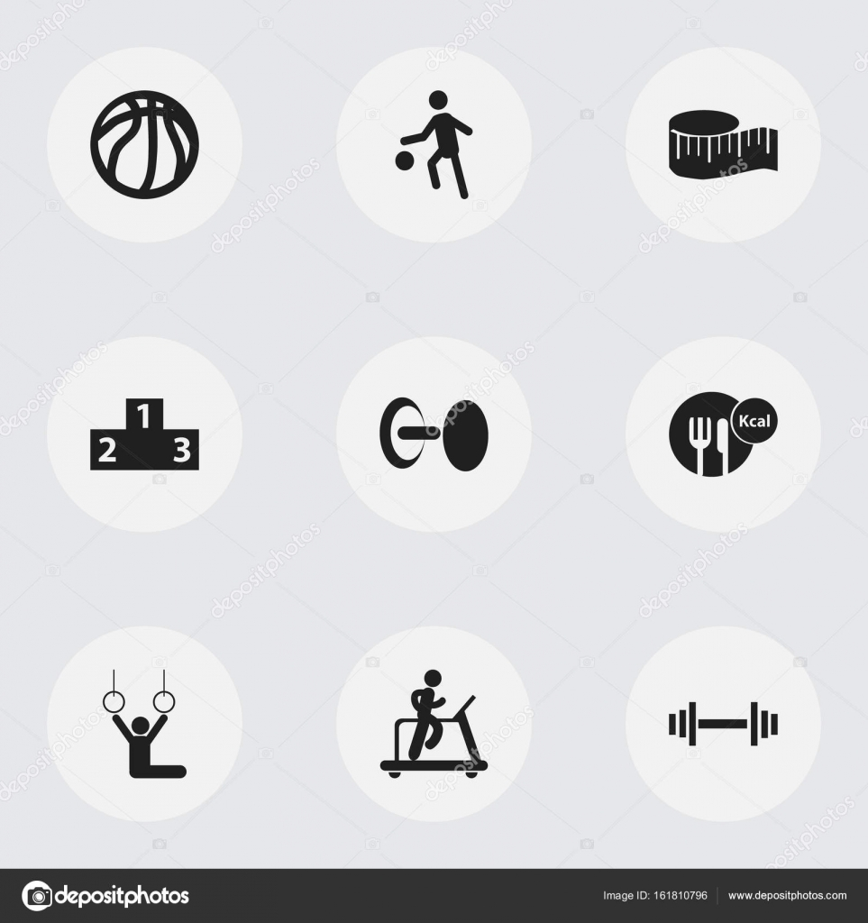 Set Of 9 Editable Exercise Icons Includes Symbols Such As Strength