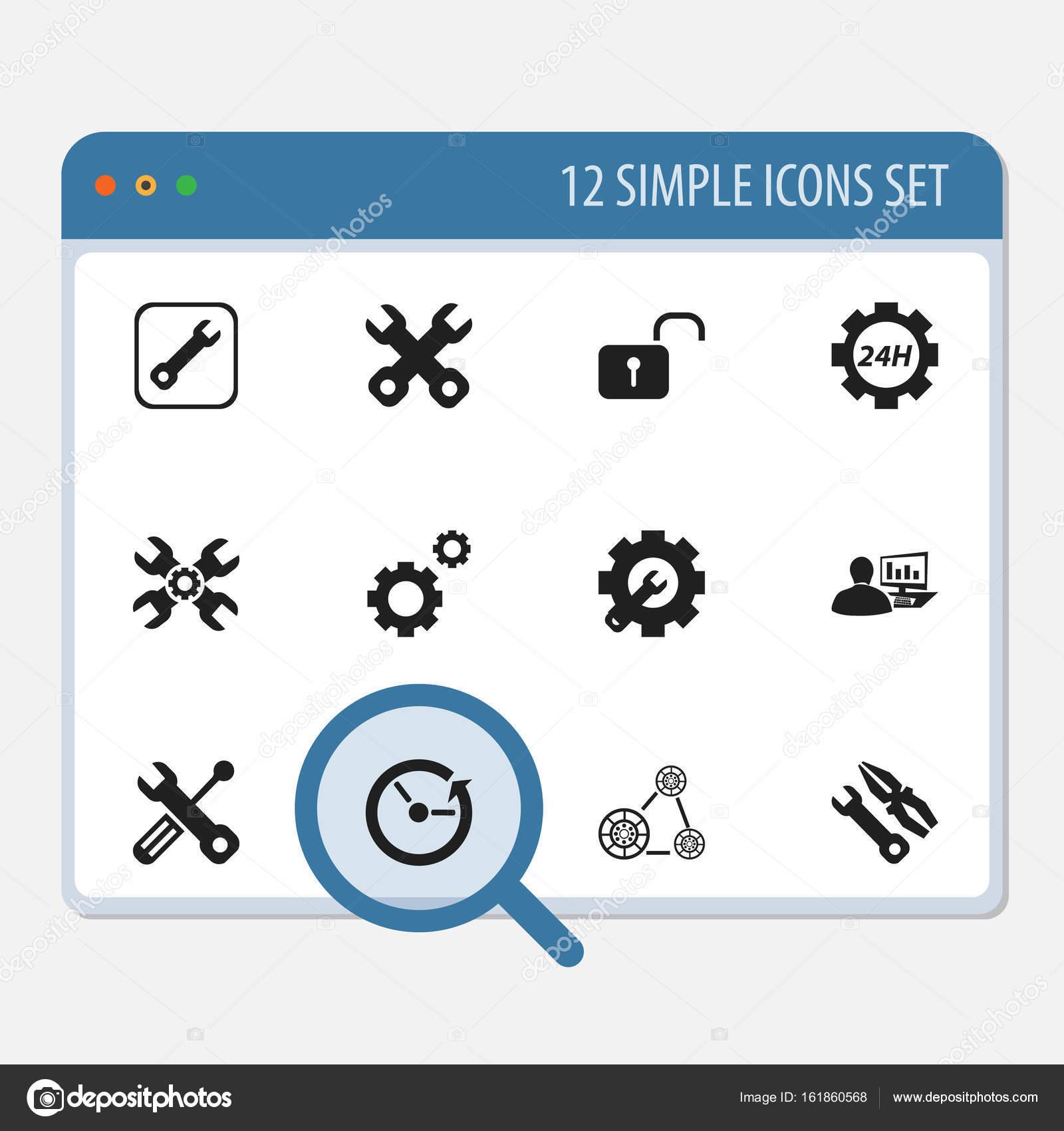 Set von 12 editierbare Mechaniker Icons. Enthält Symbole wie ...