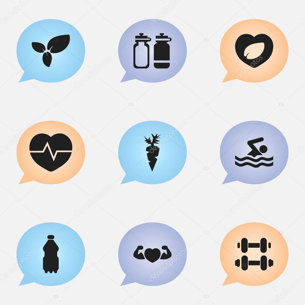 Set Of 9 Editable Fitness Icons. Includes Symbols Such As Heartbeat, Strong Love, Root Vegetable And More. Can Be Used For Web, Mobile, UI And Infographic Design.