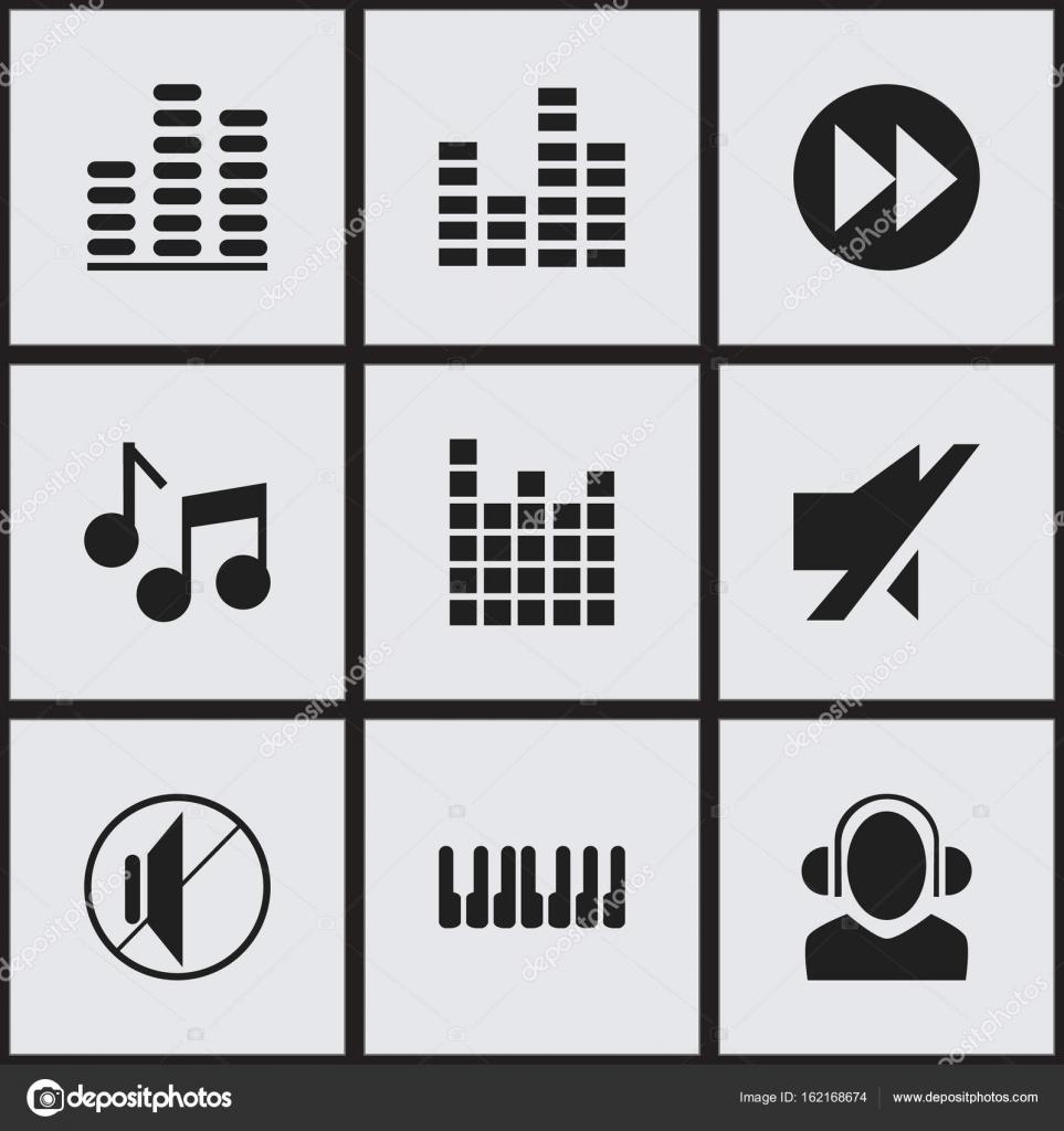 Satz von 9 bearbeitbare Musik-Ikonen. Enthält Symbole wie Dj, Ton ...