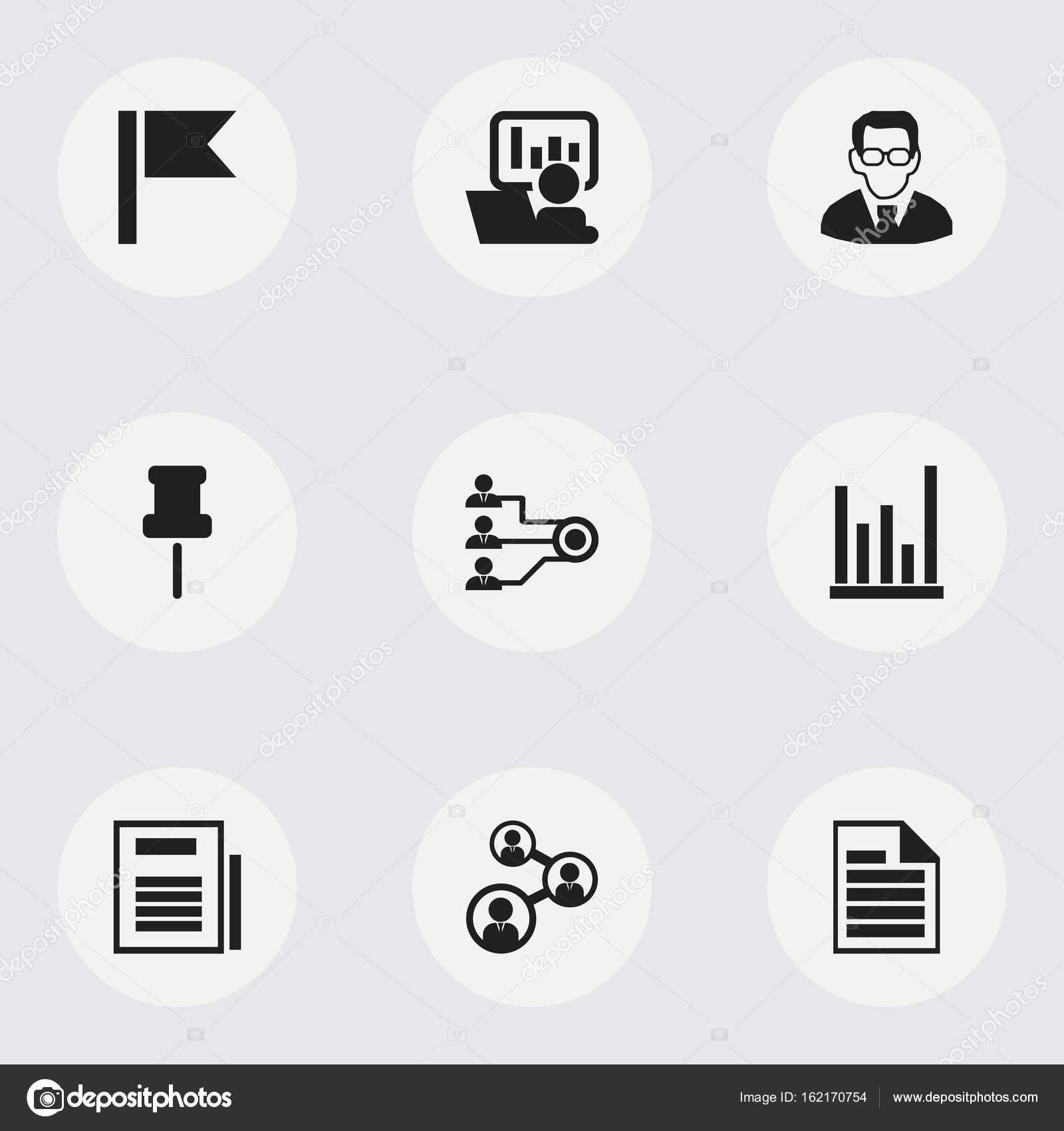 Set Of 9 Editable Bureau Icons Includes Symbols Such As Unity