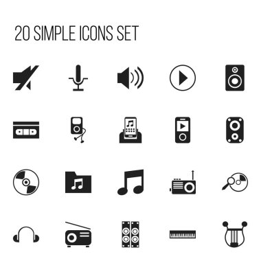 Set Of 20 Editable Multimedia Icons. Includes Symbols Such As Start Audio, Mp3 Player, Musical Gadget And More. Can Be Used For Web, Mobile, UI And Infographic Design.