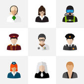 Set Of 9 Editable Profession Flat Icons. Includes Symbols Such As Officer, Lawyer, Swimmer And More. Can Be Used For Web, Mobile, UI And Infographic Design.
