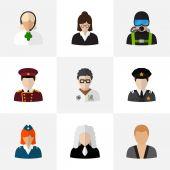 Készlet 9 szerkeszthető szakmában lakás ikonok. Tisztviselő, ügyvéd, úszó, és szimbólumokat tartalmaz. Lehet használni a Web, mobil, Ui és Infographic Design